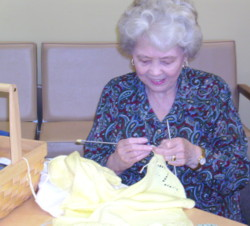 Sewing Circle:  Ann knitting