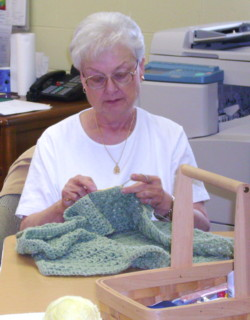 Sewing Circle:  Laura crocheting
